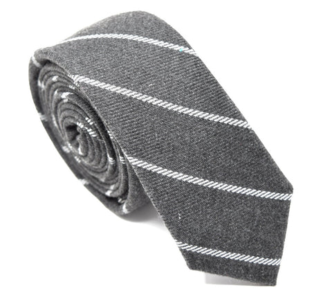 "2.5"" handmade cotton tie, grey with white stripes."