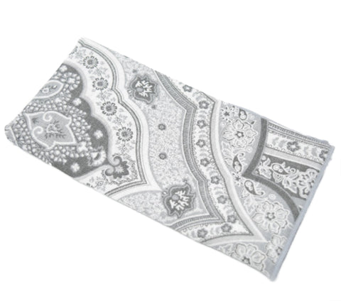 Big Bank is a grey paisley pocket square.