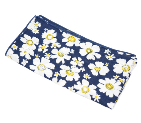Boss Bouquet is a navy pocket square with white and yellow flowers.