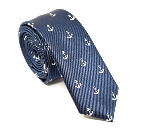 Handmade polyester, navy tie with small white anchors.