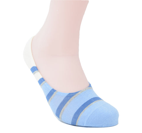 Soft blue no-show sock with blue stripes. Lots of blue.