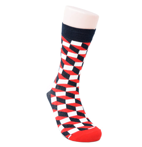 This sock features red, black and white checkerboard pattern.