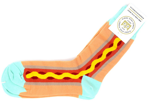 Hot dog sock with ketchup, mustard and a teal toe and heel.