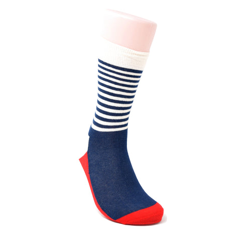 Navy sock with white stripes and red accents.