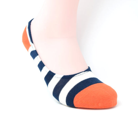 No-show sock with large navy and white stripes with an orange toe and heel.