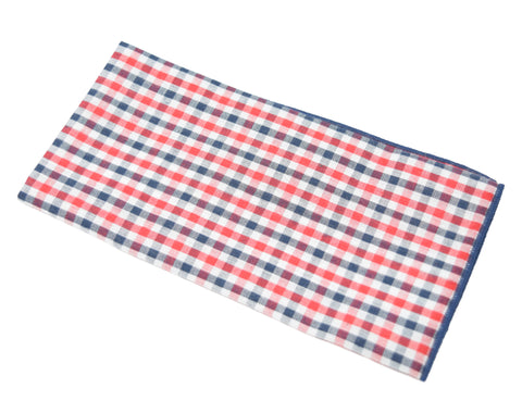 Pack a Lunch is a red and blue plaid pocket square.
