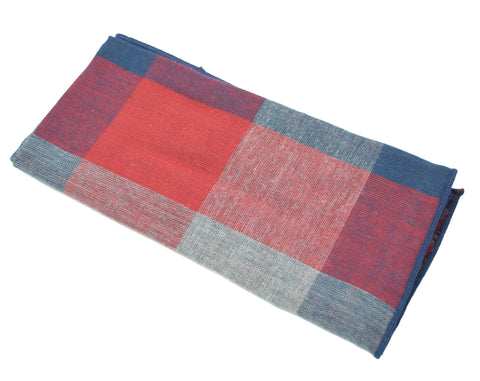 The Patriot pocket square is navy and red with a large plaid pattern.