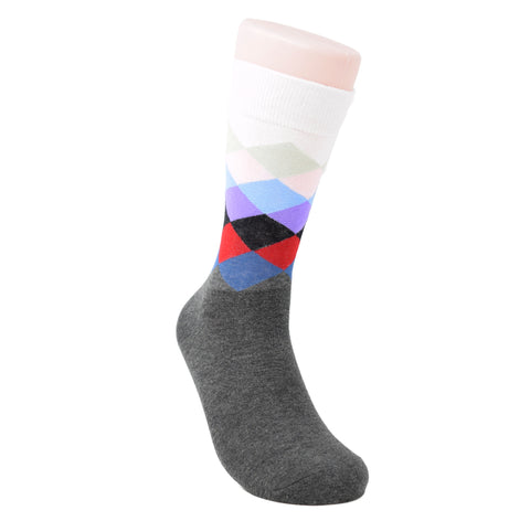 Grey sock with red, black, purple, and white diamonds above the ankle.