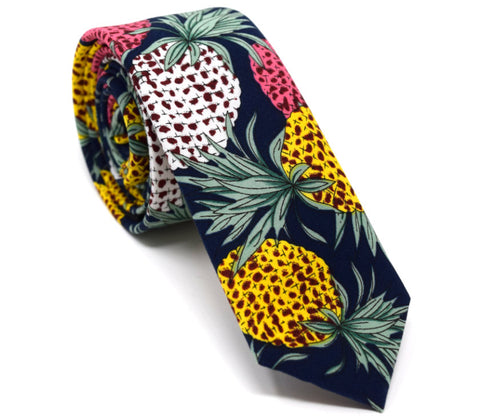 Navy tie with coloured pineapples.
