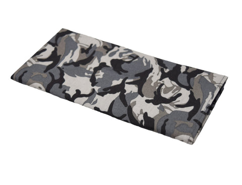 Peek-a-boo is a black and grey camo pocket square.