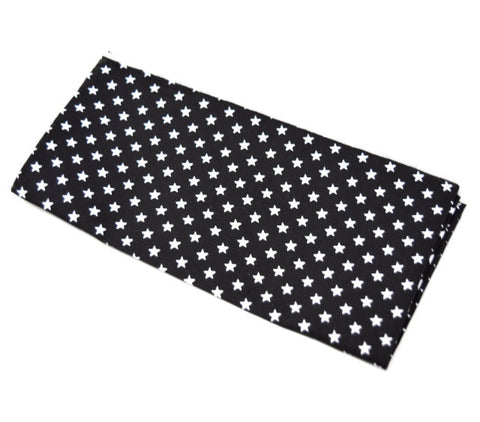 Sunset Blvd. is a black pocket square with small white stars.