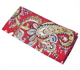 Mardi Gras Beads is a red pocket square with gold and navy paisley.