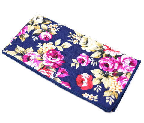 Kiss From a Rose is a navy pocket square with a large floral pattern.