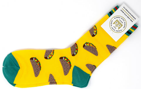 yellow and green socks with tacos.