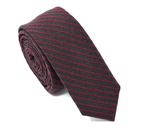 Handmade black tie with maroon stripes.
