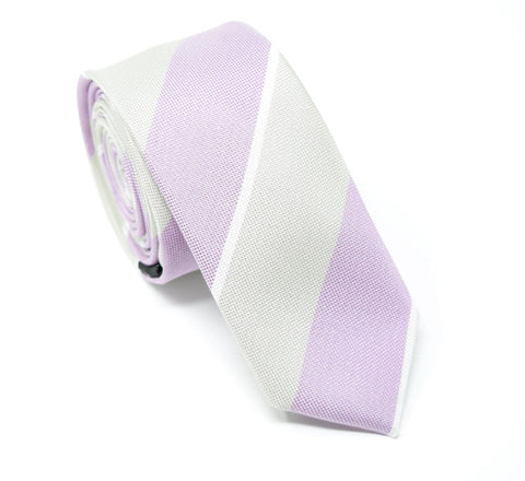 Handmade polyester tie with large purple and grey stripes.