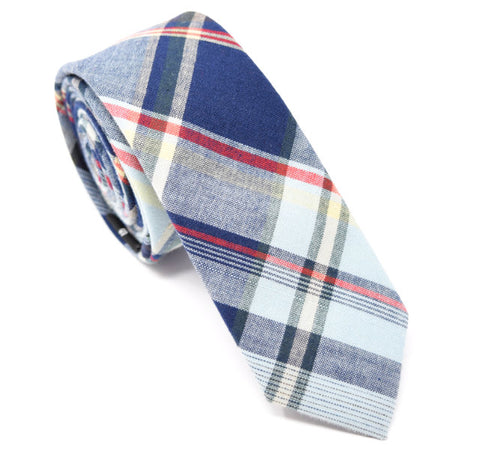 Navy, red, and white plaid tie.