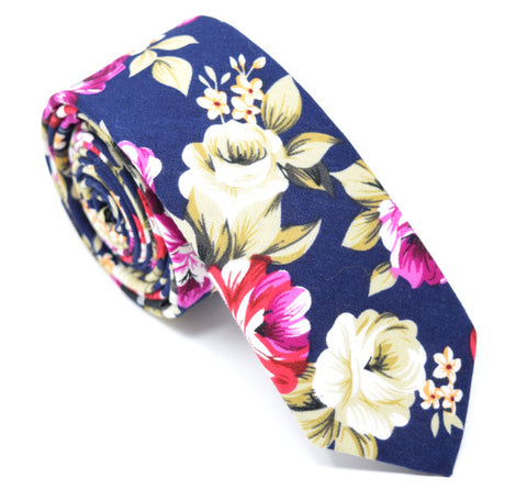 Navy tie with large floral pattern.