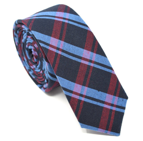 Dark blue tie with blue and red plaid.