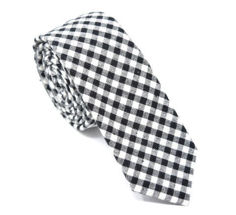 Black and white plaid tie.