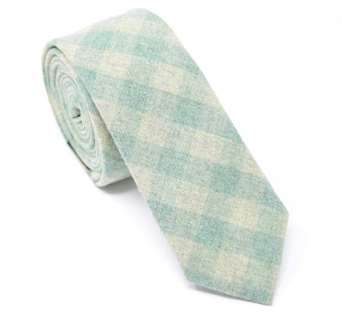 Green plaid handmade skinny tie.