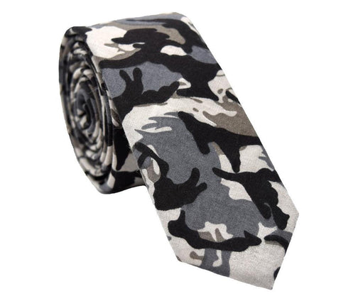 Black and grey camo skinny tie.