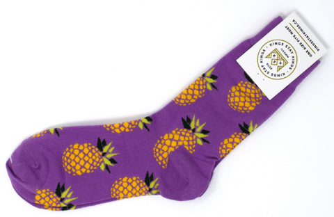 Purple sock with pineapples