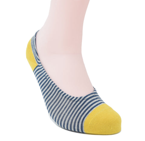 No-show sock with a yellow toe and heel. The sock also has blue and white stripes.