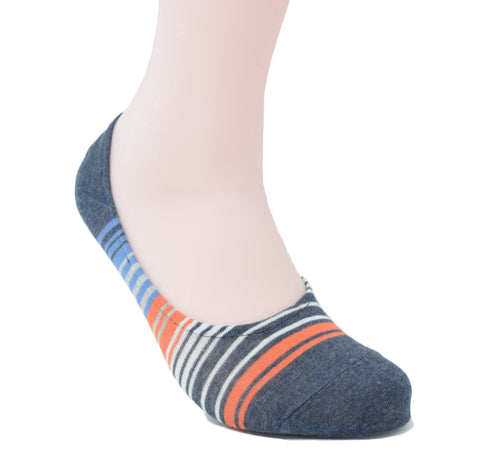 Navy no-show sock with multiple coloured stripes.