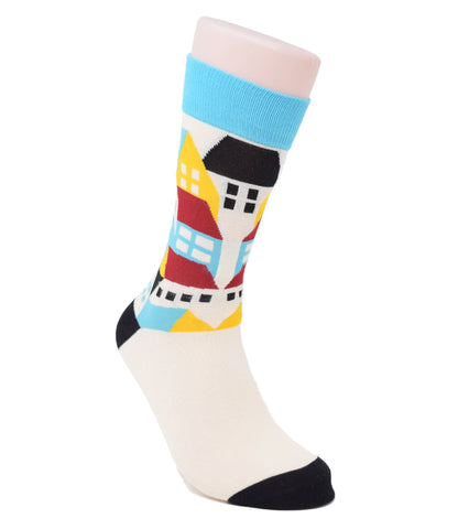 White socks with buildings above the ankle and black toe and heel.