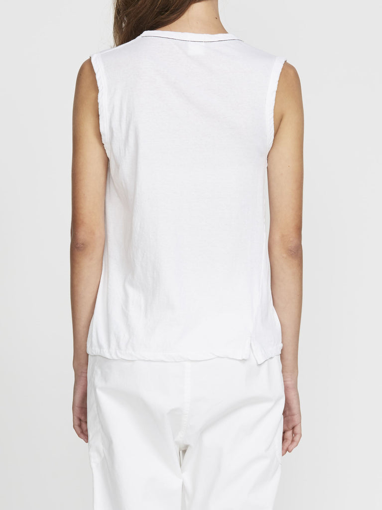 Bassike Scoop Front Tank White