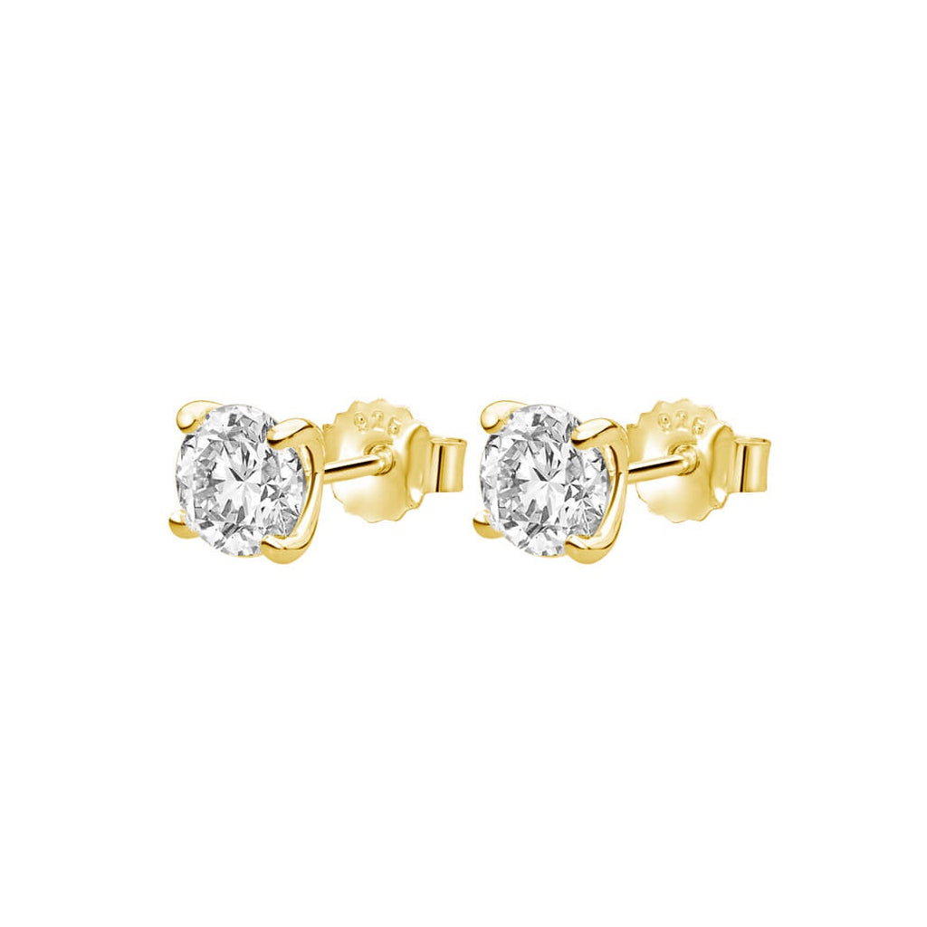 Murkani Medium White Topaz Studs - Gold