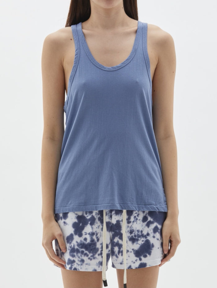 Bassike Slouch Side Step Athletic Tank Washed Denim