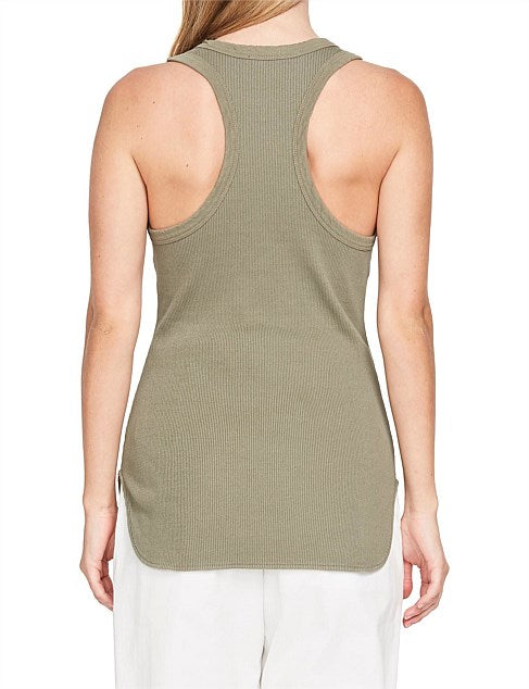 Bassike Athletic Rib Tank - Imperial Army