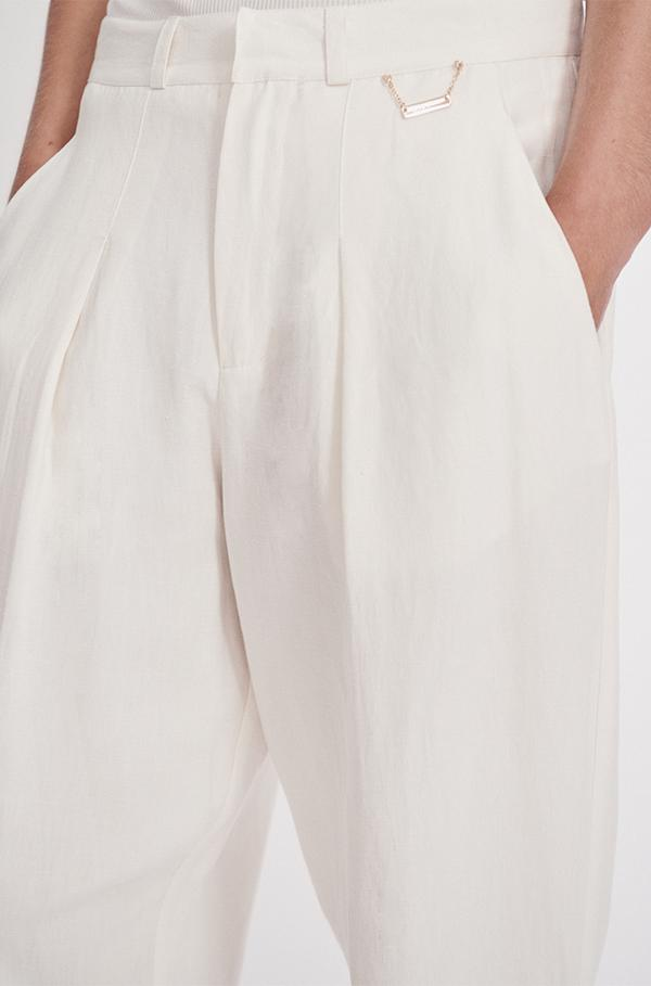 Silk Laundry Silk Linen Tailored Pant White