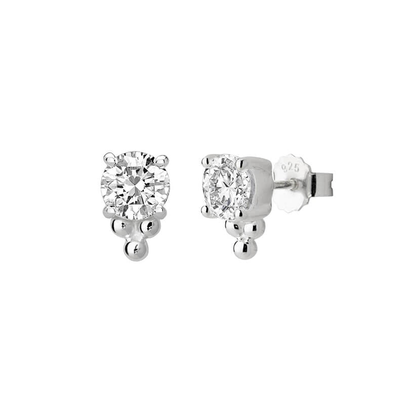 Murkani Stud Earrings 6mm White Topaz Stone With Balls- Silver