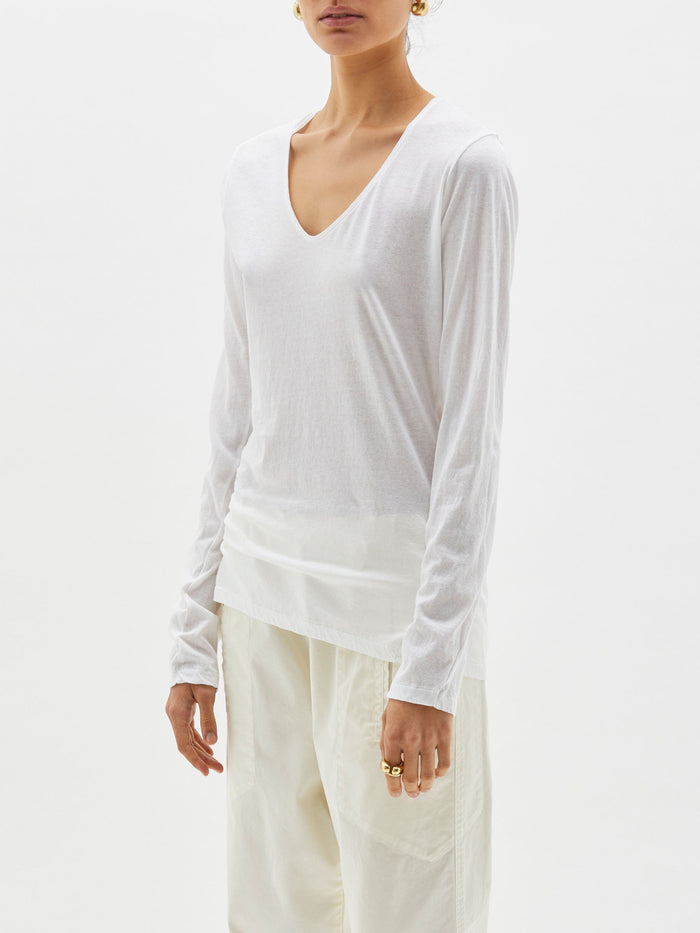 Bassike Fitted Scoop V L/S T Shirt White