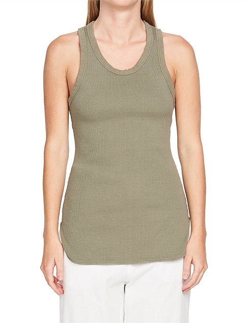 Bassike Athletic Tank Rib Imperial Army