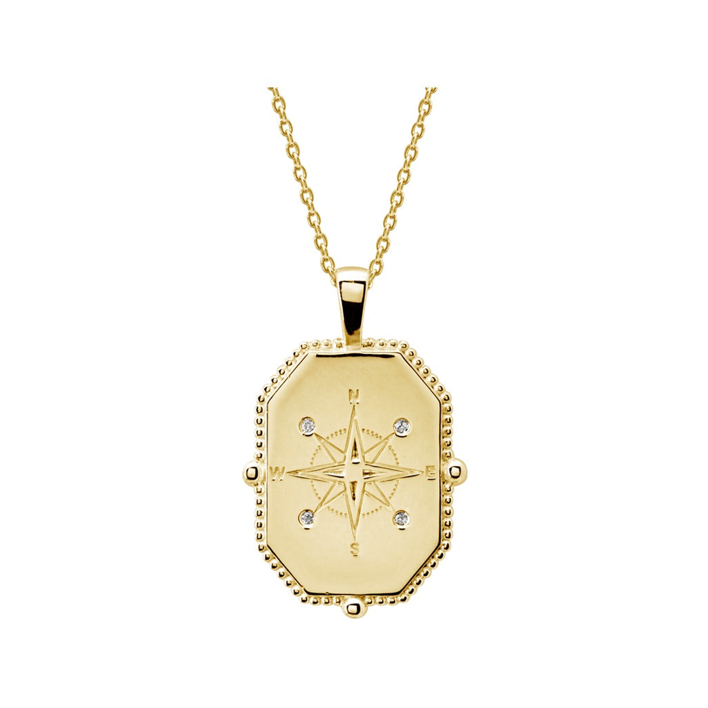 Murkani Compass Necklace with White Topaz 18K Gold Plated