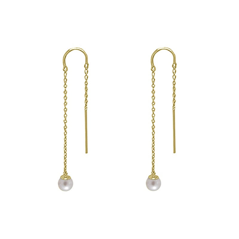 Murkani Riviera Pearl Thread Earrings - Gold