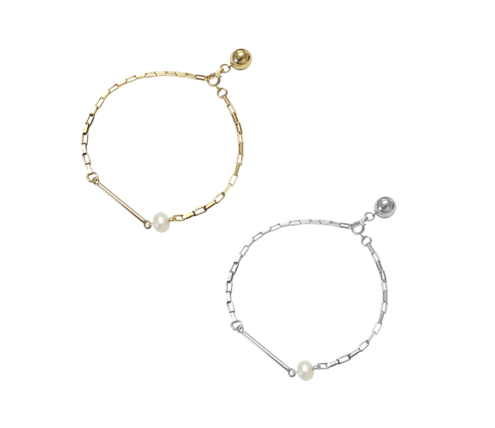 Misuzi Dallas Pearl and Bar Bracelet - Gold