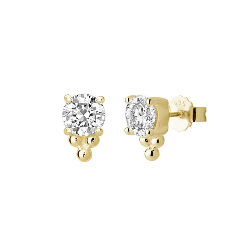 Murkani Medium White Topaz Studs with Balls - Gold