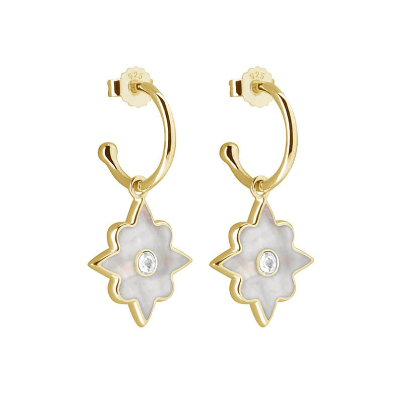 Murkani Small Hoop Earrings With Mother Of Pearl - Gold