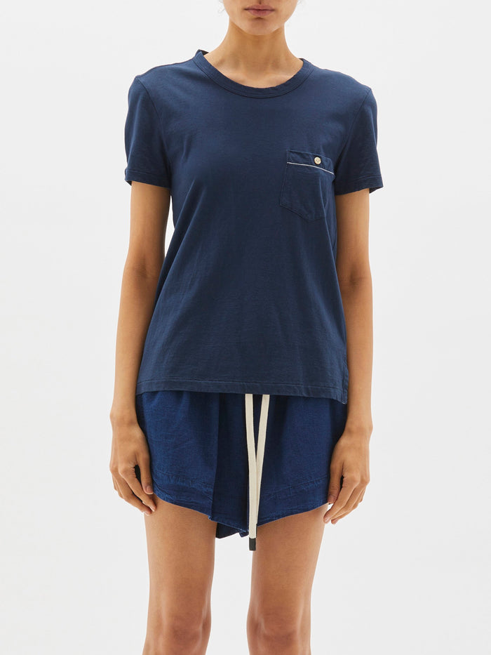 Bassike Pocket Detail Heritage Short Sleeve T Shirt Deep Indigo