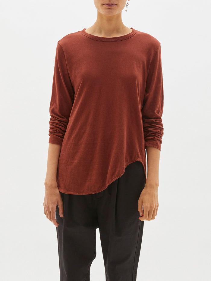 Bassike Heritage Scoop Hem Long Sleeve T Shirt Red Urth