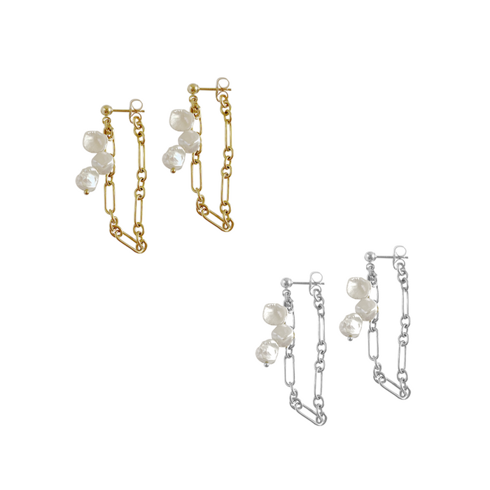 Misuzi Triple Keshi Pearl Earrings with Fig Chain - Silver