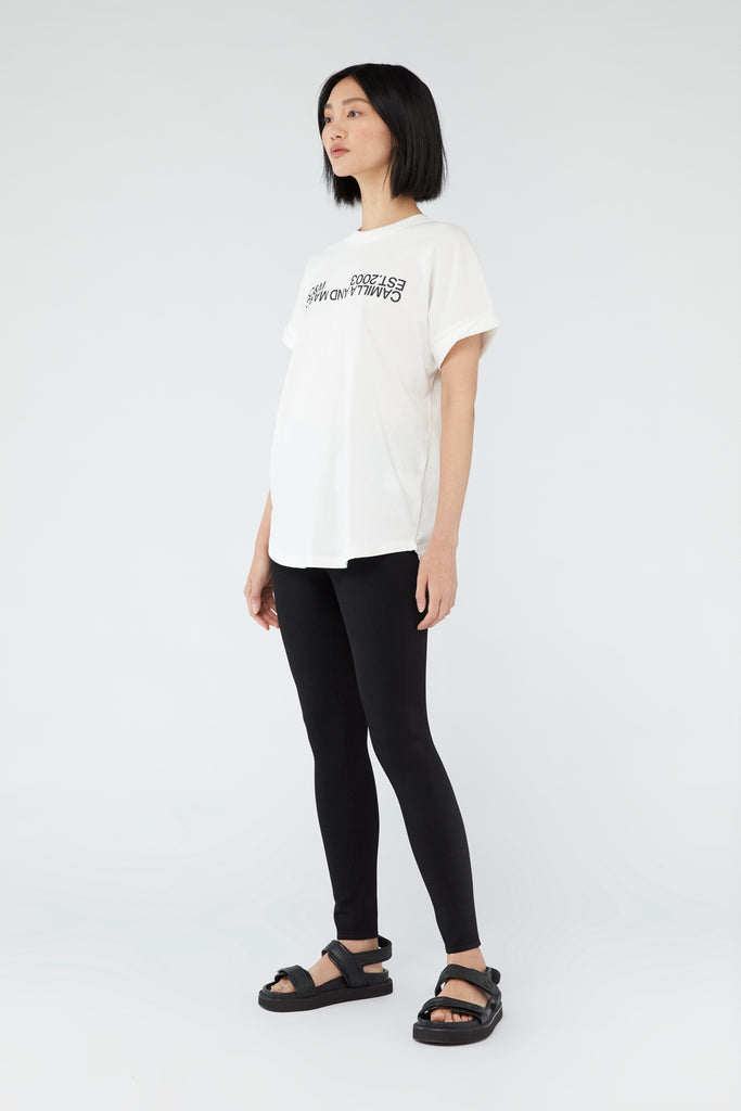Camilla & Marc Huntington 2.0 Tee White Black Logo