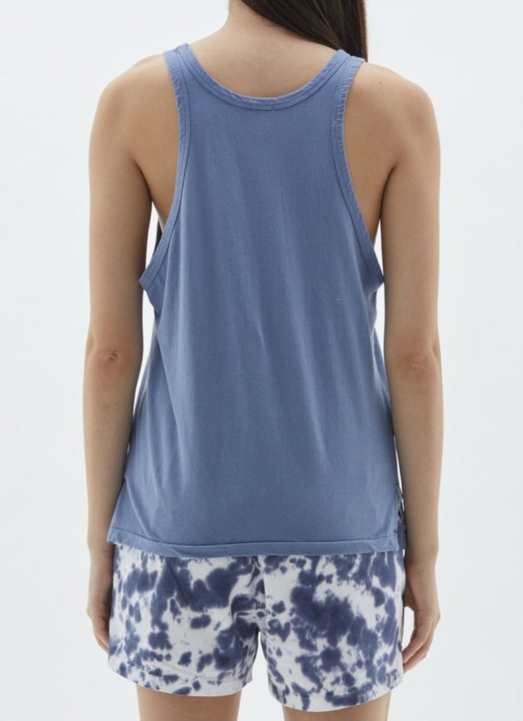 Bassike Slouch Athletic Tank Washed Denim