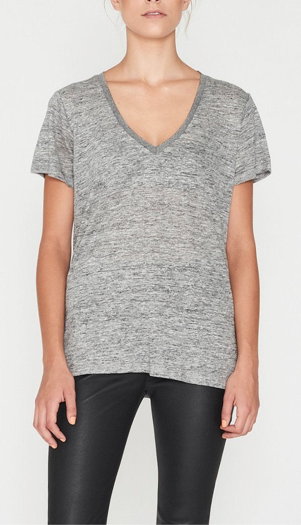 Elka Collective EC Linen V Neck Tee - Grey Marle