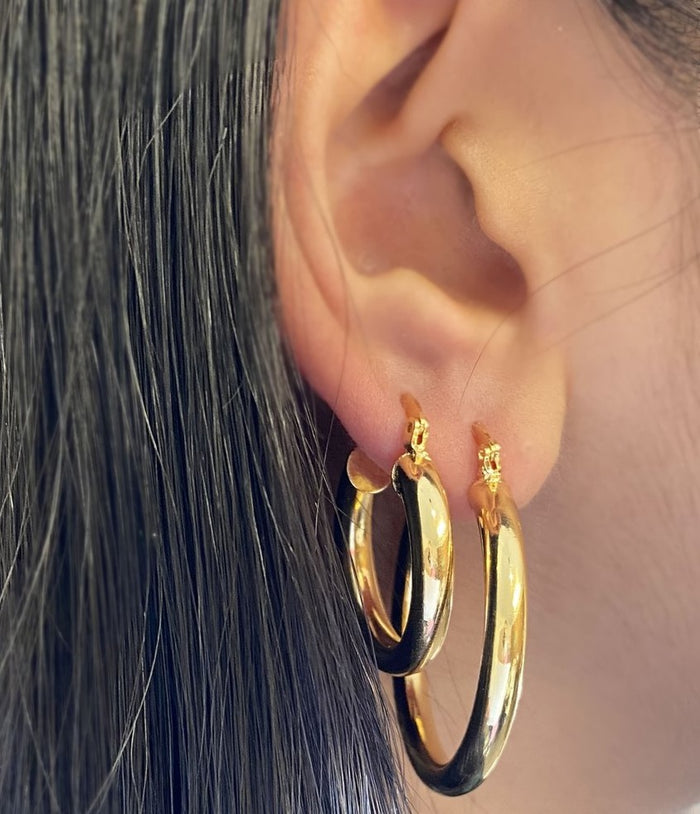 Milan Hoop Earring Gold 25mm